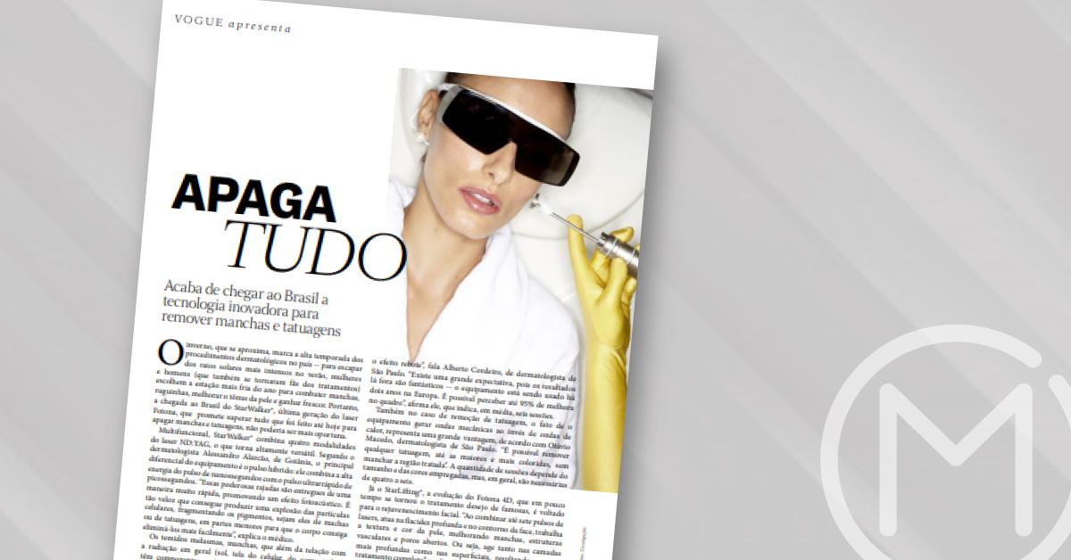 A Vogue realizou uma matéria incrível que eu tive o prazer de participar, para falar sobre o Fotona Starwalker - Clínica Otávio Macedo